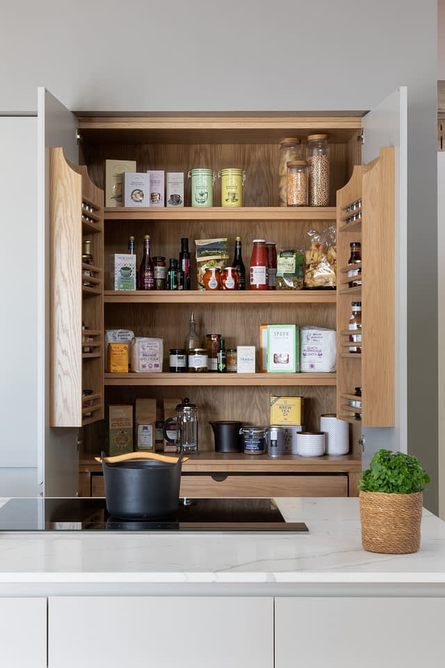 Double pantry cupboard space in the Cole