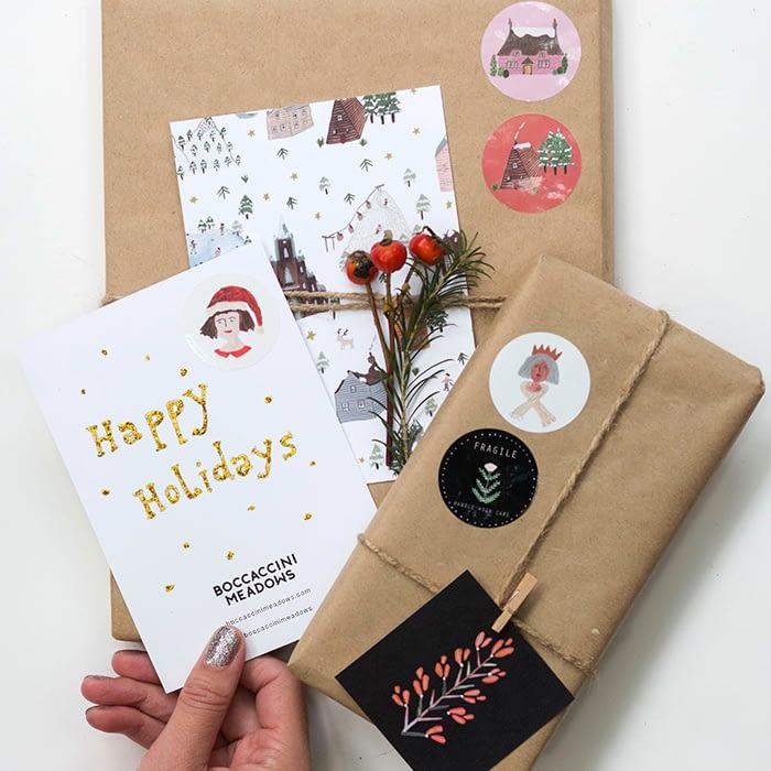 Sara Boccaccini Meadows Christmas cards and round stickers