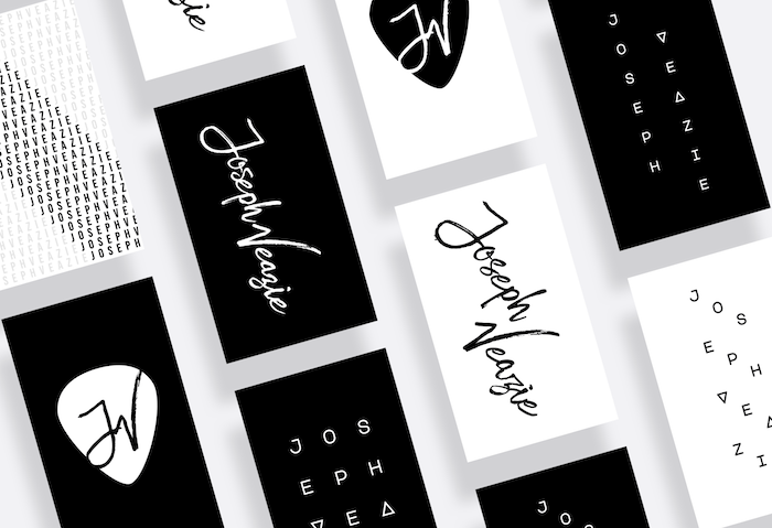 Joseph Veazie business cards with cool black and white designs by Curtis Thornton