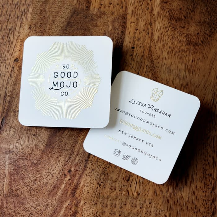 Gold foil So Good Mojo Co business card by Eric Kass