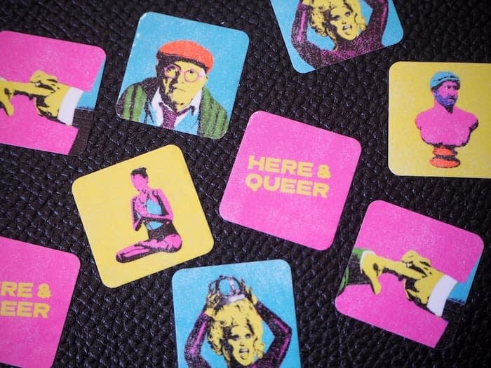Colorful mini stickers with portraits and slogans by Chris Printed This