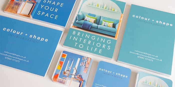 Colour + Shape postcards and square business cards
