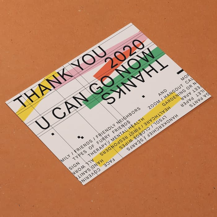 Indisneny thank you card with lo-fi typography
