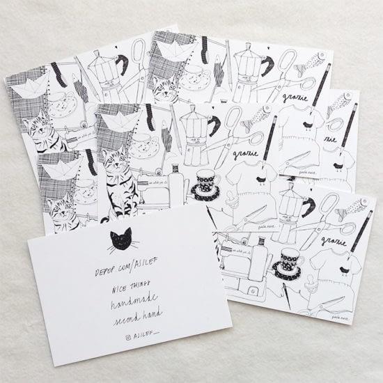 Asilef illustrated postcards