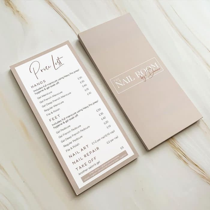 Beauty price list for Nail room by Danae by designer Beths Branding Co