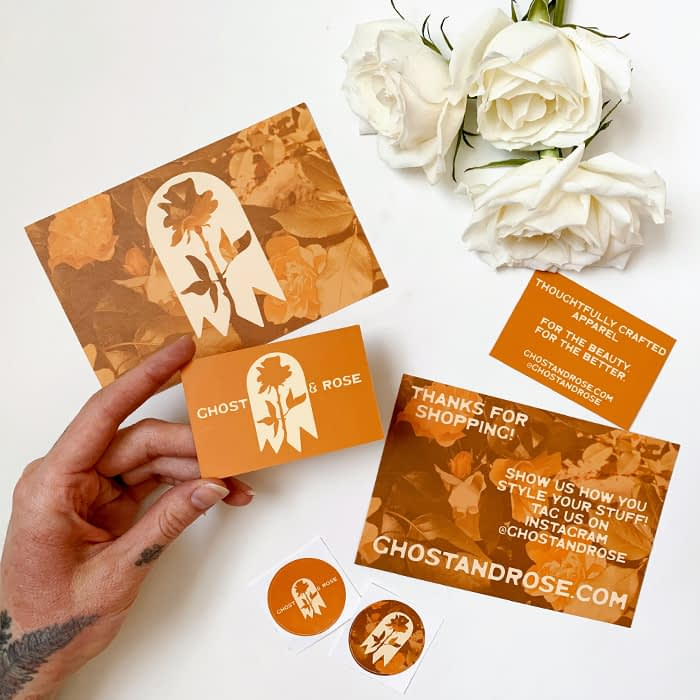 Ghost and Rose cards, business cards and stickers