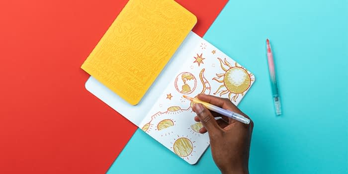 Hand drawing on an openMOO Notebook by Kate Moross