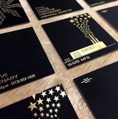 Gold and black square business cards