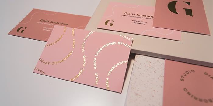 Giada Tamborino business cards with gold foil