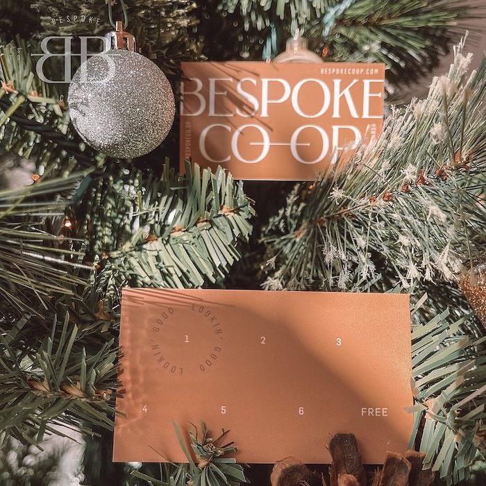 Bespoke co-op brow salon cards in tree