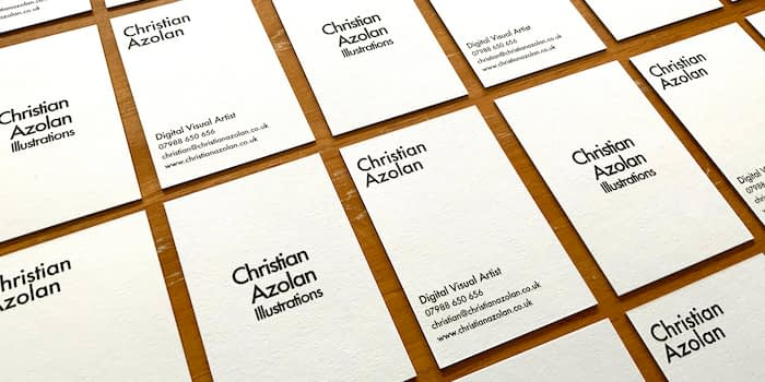 Christian Azolan business cards with simple black and white design