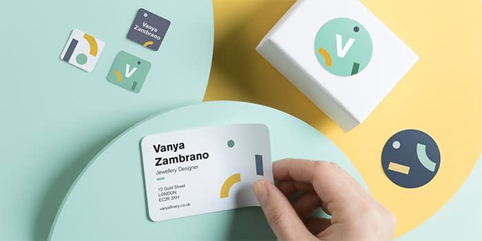 moo brand stickers in a variety of sizes, used as business stickers to promote Vanya Zambrano jewellery designer