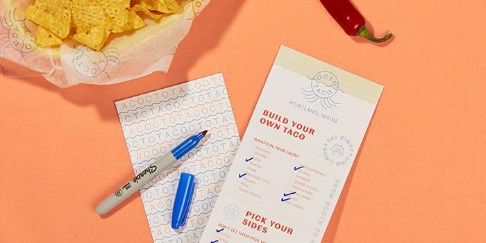 Taco restaurant menu and tortilla chips