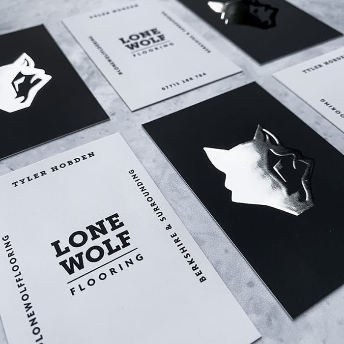 Lone Wolf silver foil and spot gloss business cards by Lucy's Logos