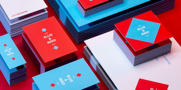 Red and blue branded marketing materials