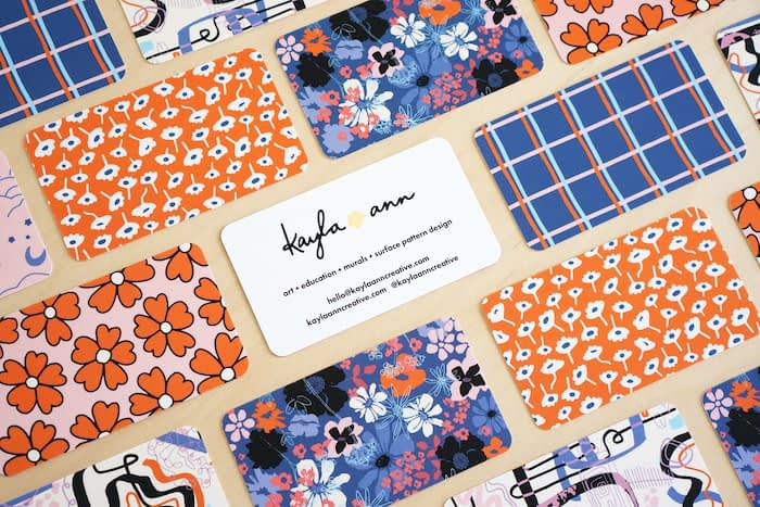 Flower business cards with various designs by Kayla Ann