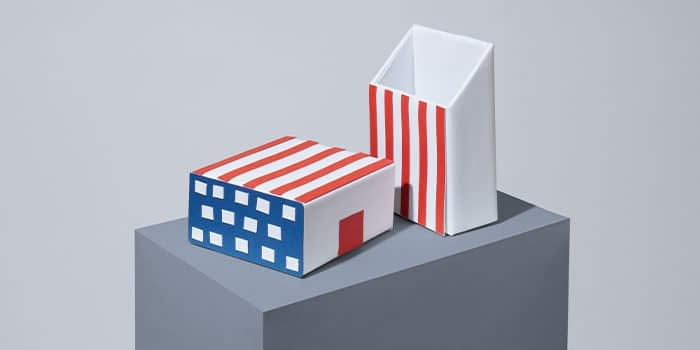 MOO white label packaging with the american flag