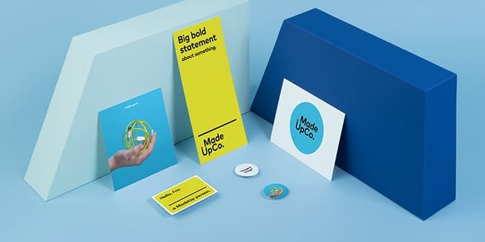 Set of print collaterals including stickers and postcards for a made up company