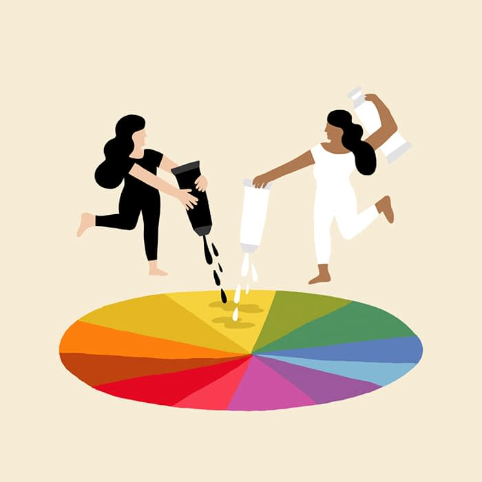 Black and white added to color wheel Melanie Johnsson