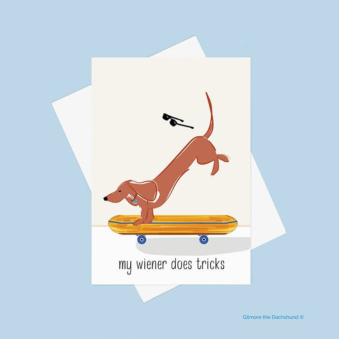 Greeting card with skating wiener dog by Gilmore the Dachshund