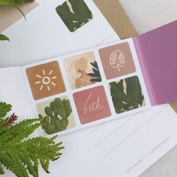 My Studio is Pink nature inspired trendy stickers