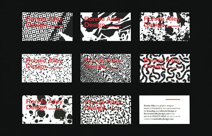 Ronnie Alley business card designs