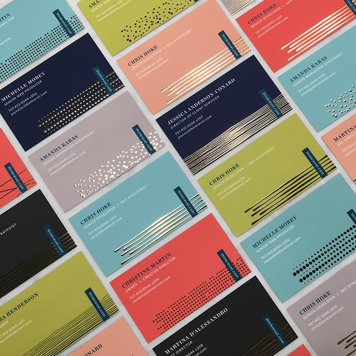 Business cards with unique colors and designs