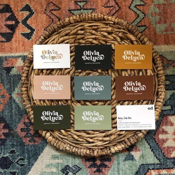 Olivia de Luca Design muted color business cards