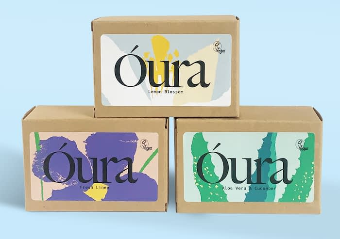 Óura trio of soaps with custom labels