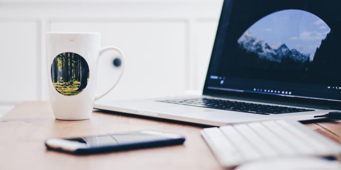Productivity Tips Computer Phone Mug and Keyboard