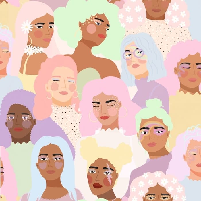 Pastel pattern design by Brook Gossen representing a crowd of women of various ethnicities with pastel hair, flowers and stars
