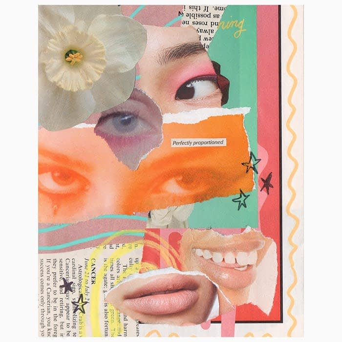 Collage artwork with eyes, mouths and flowers by Mya Naguit from Paper Puso