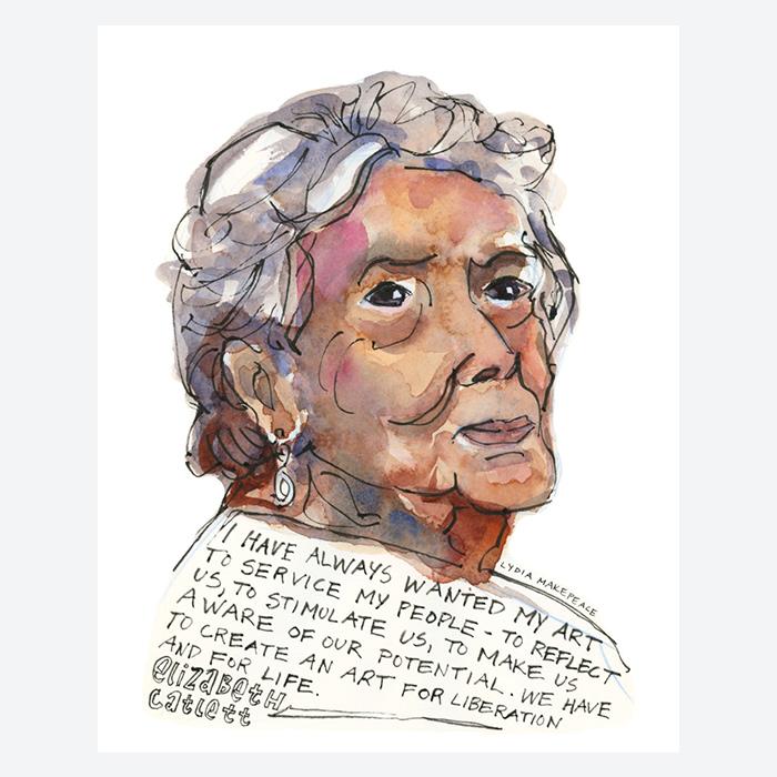 Watercolor portrait of Elizabeth Catlett by Lydia Makepeace
