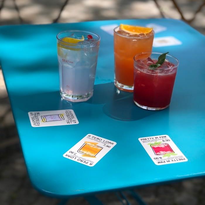 Sticker drink menu design by Nick Bampton for Papp Bar & Cafe