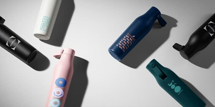 6 custom water bottles in different colors and designs