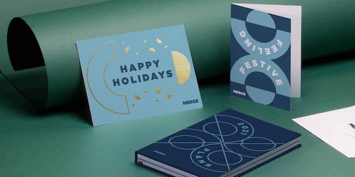 gold foil holiday card and custom printed products for businesses