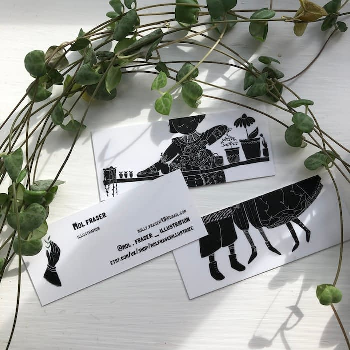 Mol Fraser business cards with cute black and white design