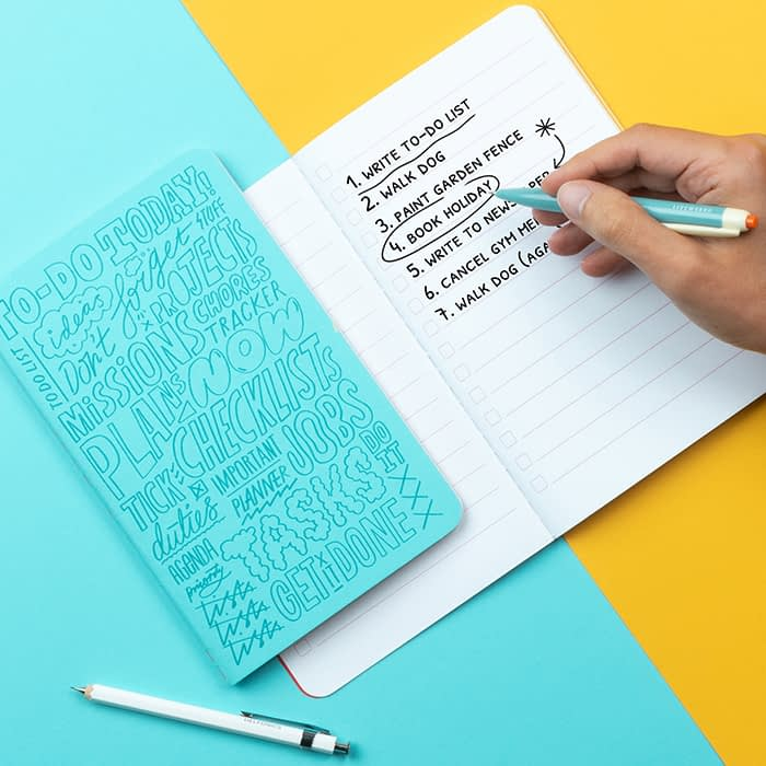 Kate Moross notebook with list