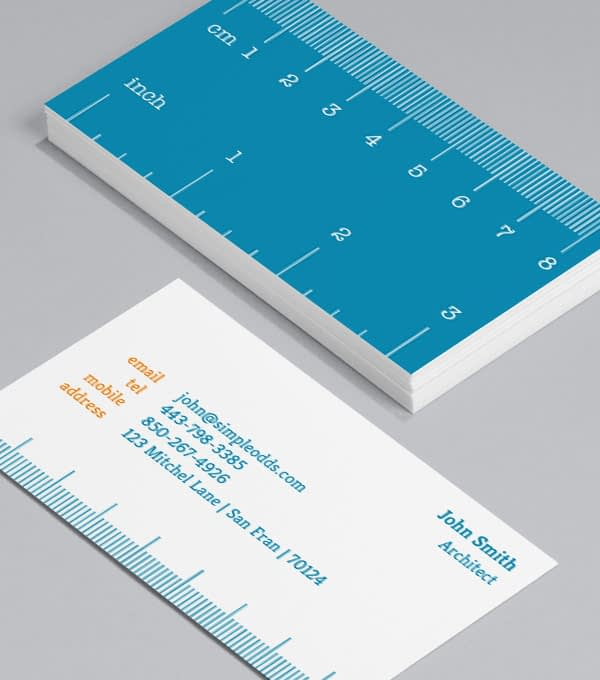 Business Card mini ruler design template for architect business cards