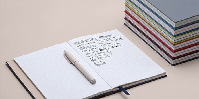 Hardcover notebook with notes and doodles