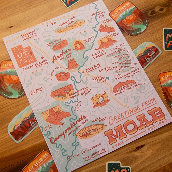 Vintage inspired map of Moab by Abby Leighton