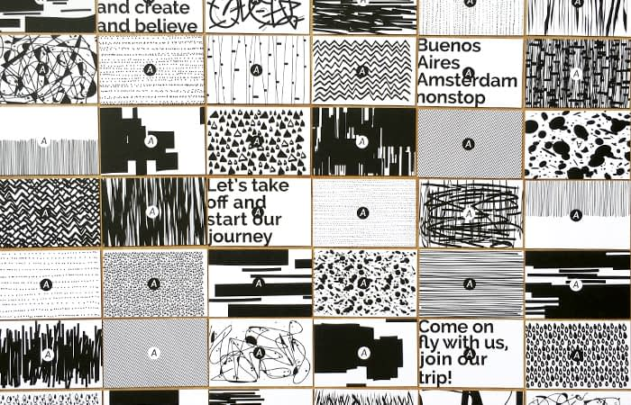 Mosaic of black and white Aeronave business cards