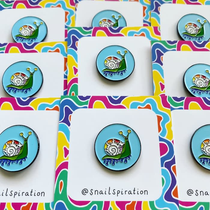 Snailspiration enamel pin backing cards
