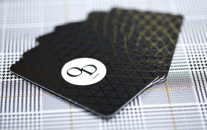 Oriana Doriati business cards with geometric black and white design
