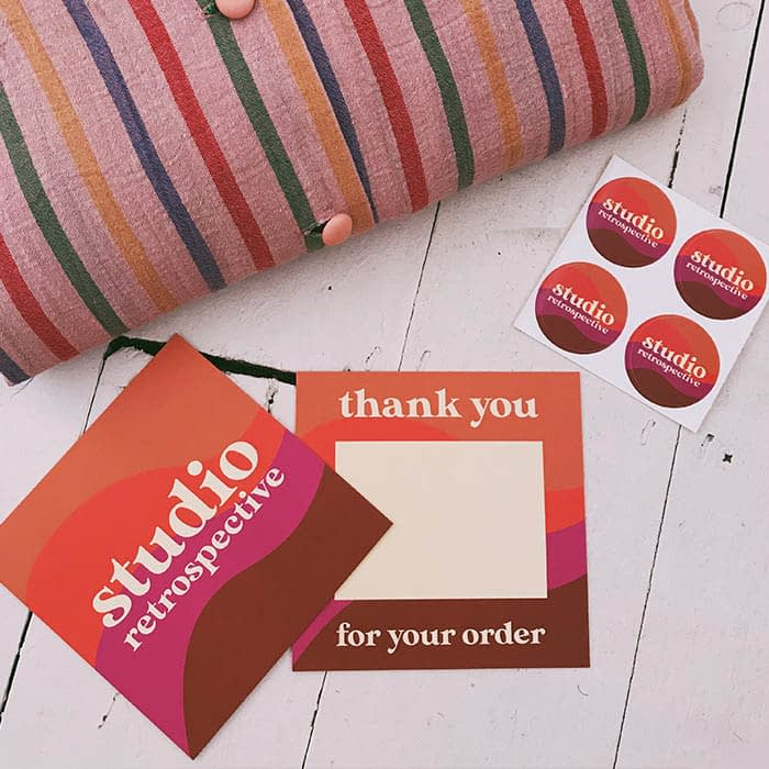 Studio Retrospective vintage inspired square thank you cards and stickers