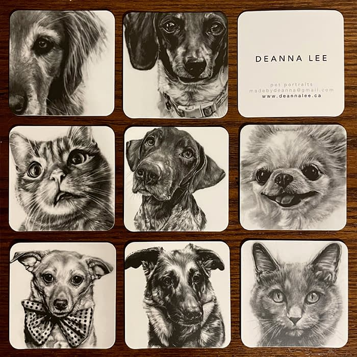 Mosaic of cat and dog square business cards by pet portrait artist Deanna Lee