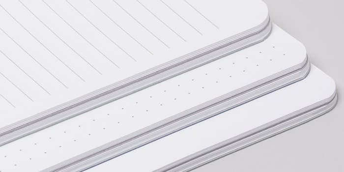 Lined, dotted and blank notebooks