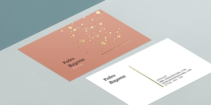 MOO Gold Foil Business Card template front and back with speckled gold