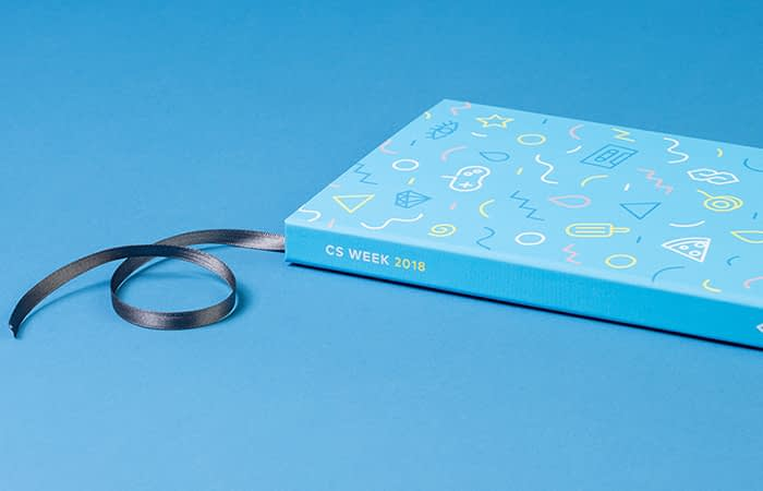 blue hardcover notebook