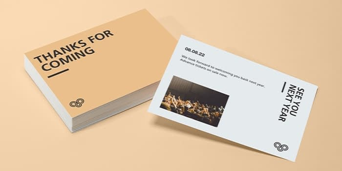 Postcard front and back with the Highline customizable postcard template by MOO